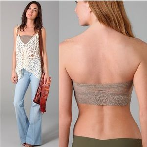 NWT FREE PEOPLE Taupe Lace Bandeau Bra Small